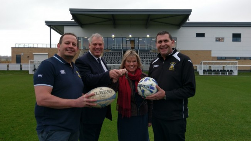 Keys for state-of-the-art facilities presented to Melksham rugby and football clubs by Conservative Wiltshire Council