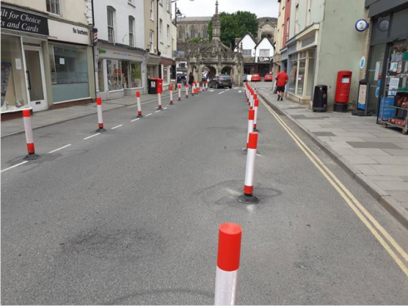 Changes to Malmesbury High Street help people to social distance